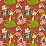 Cute childlike seamless pattern with little fairy, prince and pr Royalty Free Stock Photography