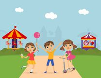 Cute Children at Amusement Park, Summer Landscape with Carousels and Castle Vector Illustration. Web Design vector illustration