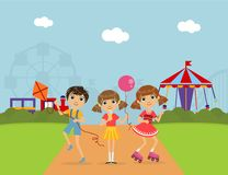 Cute Children at Amusement Park, Summer Landscape with Carousels and Ferris Wheel Vector Illustration. Web Design vector illustration