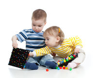Cute children boy girl playing together Stock Photography