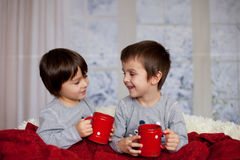 Cute children, boys, sitting in a big chair in pajamas, drinking Royalty Free Stock Photos