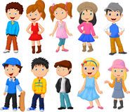 Cute children cartoon collection. Illustration of Cute children cartoon collection Stock Photography