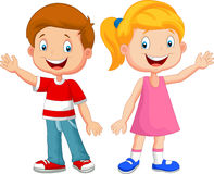 Cute Children Cartoon Waving Hand Royalty Free Stock Images