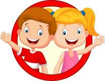 Cute children cartoon waving hand Stock Image