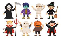 Cute children in colorful costumes. stock illustration