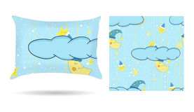 Cute children Decorative pillow with patterned pillowcase in cartoon style blue background. Isolated on white. Interior design ele Stock Photo