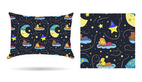 Cute children Decorative pillow with patterned pillowcase in cartoon style children are sleeping on the clouds in the beautiful ni Stock Photos