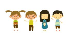 Cute children of different nationalities set, happy little boys and girls vector Illustration stock illustration