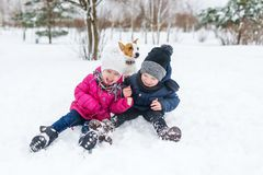 Cute children and dog playing in snow. royalty free stock image
