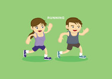 Cute Children Doing Running Exercise Royalty Free Stock Image