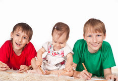 Cute children drawing Royalty Free Stock Photos