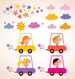 Cute children driving cars kids stuff design elements set Stock Image