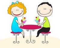 Cute children eating ice cream. Vector illustration of cute, hand drawn style children eating ice creams Stock Image