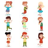 Cute children feeling happy with their ice cream set of cartoon vector illustrations. On a white background Stock Photography