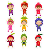 Cute Children in Fruit and Berry Costumes Vector Stock Photos