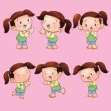 Cute children girl actions set. Vector cartoon of Cute children girl actions set Stock Photos