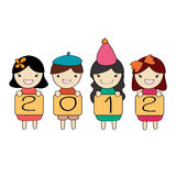 Cute children group with 2012 new year letter. Cartoon illustration Royalty Free Stock Photography