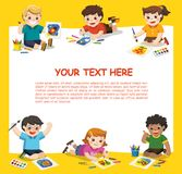 Cute Children Have Fun And Ready To Get Painting Together. Stock Photo