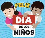 Cute Children Holding a Calendar for Spanish Children`s Day, Vector Illustration Royalty Free Stock Photo