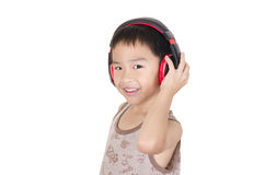 Cute children listen to music Stock Photo