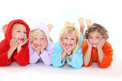 Cute children lying on the floor Royalty Free Stock Photo
