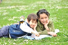 Cute children on meadow Stock Images