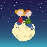 Cute children on the Moon. Boy and girl sitting on the moon vector illustration. Vector detailed graphic illustration. Lovely couple of kids Stock Image