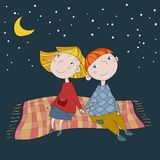 Cute children on the plaid. Boy and girl sitting on the plaid vector illustration. Vector detailed graphic illustration. Lovely couple of kids Royalty Free Stock Photo