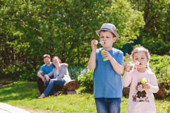 Cute Children are Playing in Park Royalty Free Stock Image