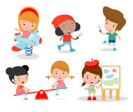 Cute children playing with toys in playground, children in the park Stock Photography