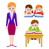 Cute children reading books in class, teacher. Icon for education. Stock Images
