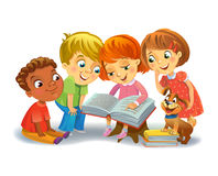 Cute children reading books. Group of Happy Kids Reading Books, vector illustration Royalty Free Stock Image