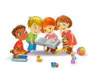 Cute children reading books. Group of Happy Kids Reading Books, vector illustration vector illustration