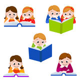 Cute children reading books.  Icon for education. Vector illustration Stock Images