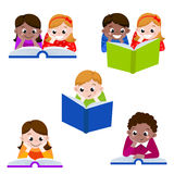 Cute children reading books.  Icon for education. Vector illustration Royalty Free Stock Image