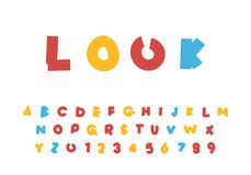 Cute children`s bright alphabet, abc cartoon vector illustration, letter design set stock illustration