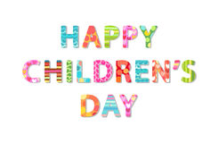Cute Children`s Day banner as colorful letters. With hand drawn childish prints vector illustration