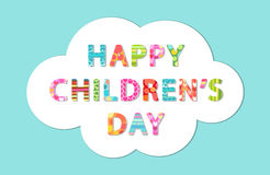 Cute Children`s Day banner as colorful letters. With hand drawn childish prints Stock Image
