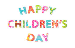 Cute Children`s Day banner as colorful letters. With hand drawn childish prints Royalty Free Stock Image