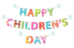 Cute Children`s Day banner as colorful letters. With hand drawn childish prints Royalty Free Stock Images