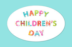Cute Children`s Day banner as colorful letters. With hand drawn childish prints Royalty Free Stock Photos
