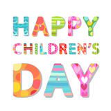 Cute Children`s Day banner as colorful letters. With hand drawn childish prints Stock Photo