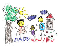 Cute Children`s Drawing Of A Happy Family Royalty Free Stock Image