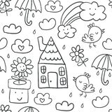 Cute children`s drawings seamless pattern royalty free illustration