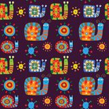Cute children`s pattern with a decorative snails Stock Photography