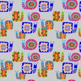 Cute children`s pattern with decorative snails on a gray backgro Stock Photo