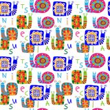 Cute children`s pattern with decorative snails and letters Stock Photography
