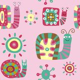 Cute children`s pattern with decorative snails on a pink backgro Royalty Free Stock Photos