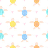 Cute children seamless background with turtles. Beige turtles with multi-colored shells. Hand-drawn hearts around Stock Photos