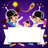 Cute children on space place 002 Royalty Free Stock Photography